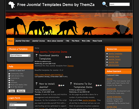 Safari in Africa Joomla Template