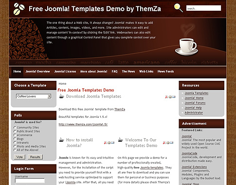 Coffee Lovers Joomla Template