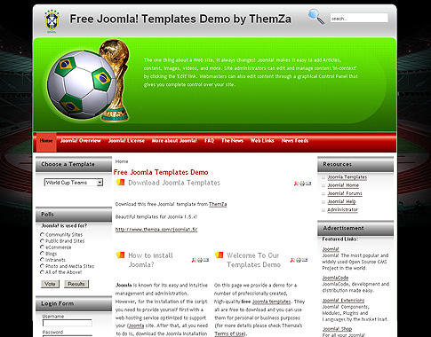 World Cup Teams Joomla Template