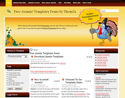 Thanksgiving Day Joomla Template