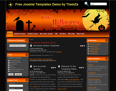 absolutely halloween free joomla template from themza