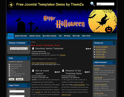 Absolutely halloween free joomla template from themza posted comments maxwellsz