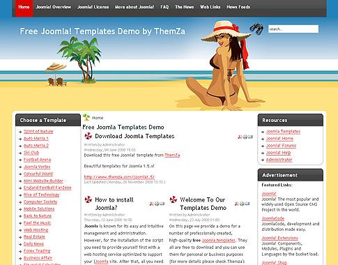 Free Joomla 1.5.x Templates: Bikini Beach by ThemZa