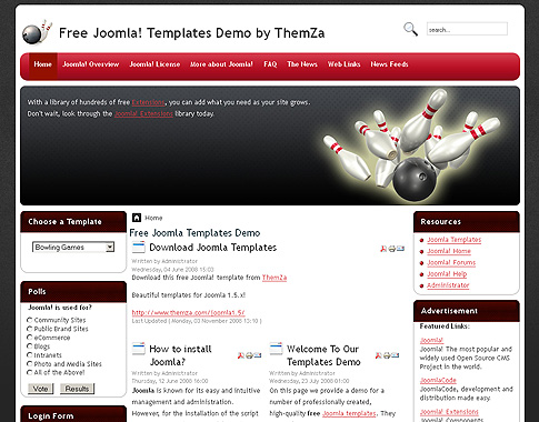 Games Template Joomla Joomla 1.5 Template to
