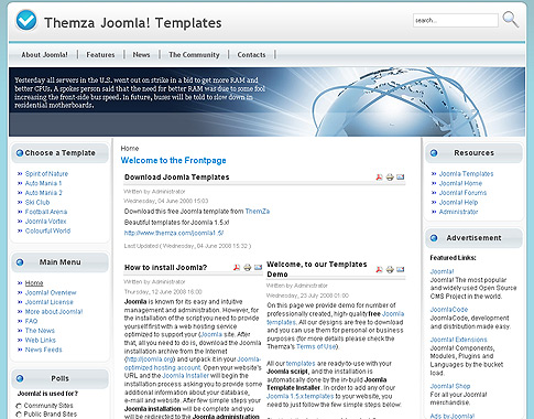 Free Joomla 1.5.x Templates: Colourful World by ThemZa