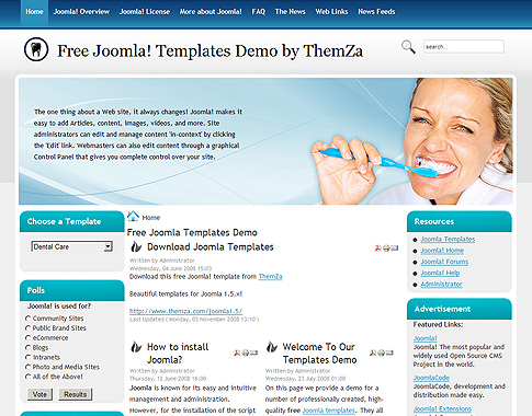 Dental Care - Free Joomla Template from ThemZa