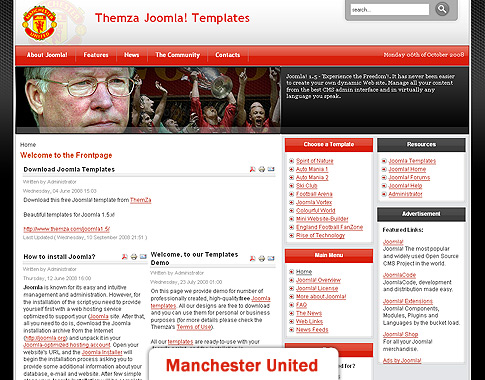 Free Joomla 1.5.x Templates: England Football Fan by ThemZa