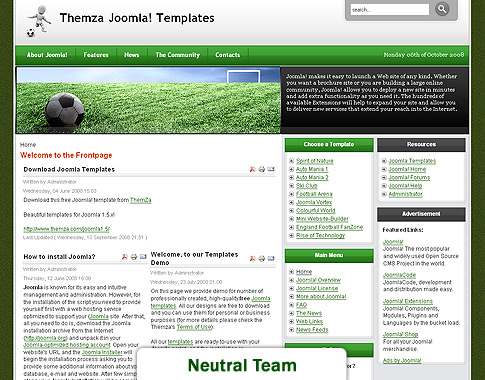 joomla org templates - free joomla 1 5 x templates england football fan by themza