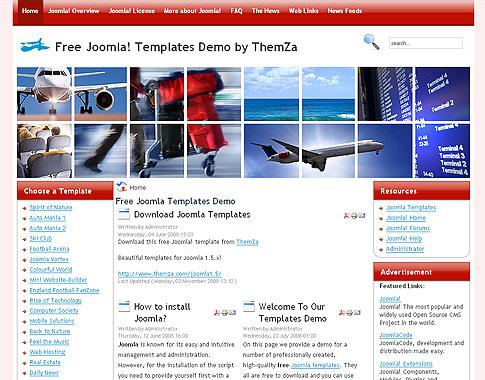 Flight Simulator' - Free Joomla 1 5 Template by ThemZa