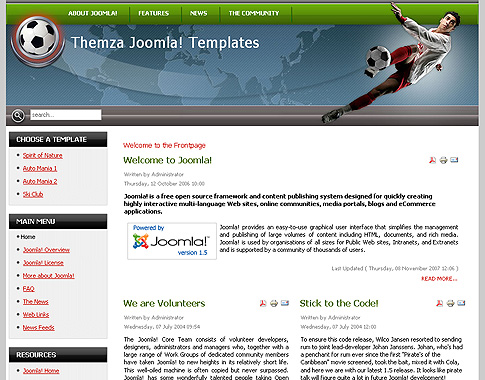 free joomla 1.5.x templates: football arenathemza, Powerpoint templates
