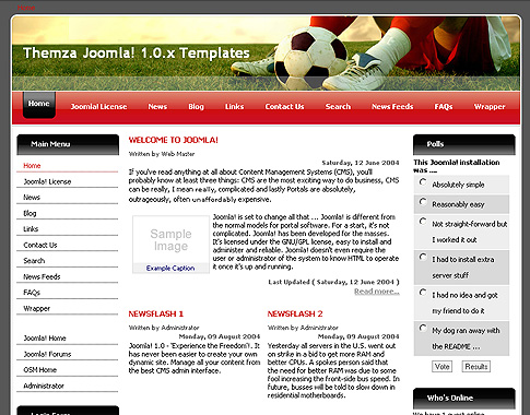 free joomla 1 0 x templates football league by themza. Black Bedroom Furniture Sets. Home Design Ideas
