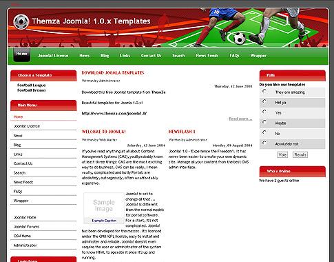 Fußballträume – eine kostenlose Joomla-basierte Template von ThemZa