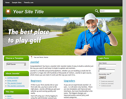 golf course free joomla 1 6 template from themza. Black Bedroom Furniture Sets. Home Design Ideas