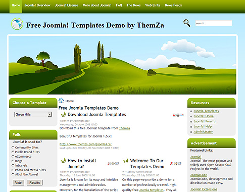 Green Hills Free Joomla Template from ThemZa