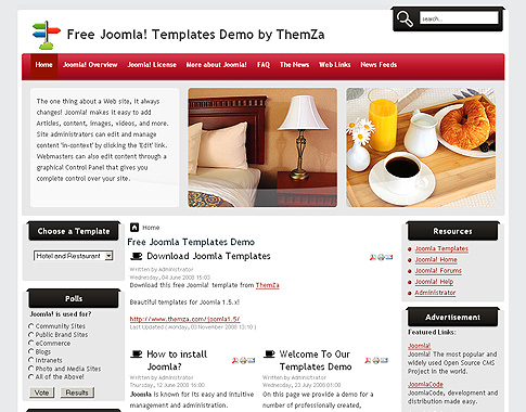 Hotel and Restaurant - Free Joomla Template from ThemZa