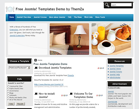 joomla hotel template - hotel and restaurant free joomla template from themza