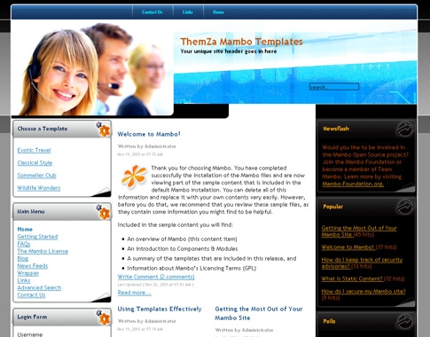 Information Delivery Free Mambo Template – Information Templates