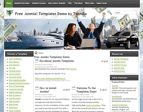 Make Money Free Joomla 15 Template by ThemZa – Free Money Templates