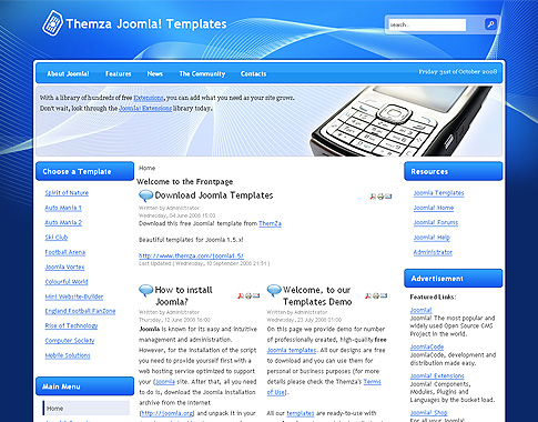 Free joomla 1 5 x templates mobile solutions by themza for Joomla org templates