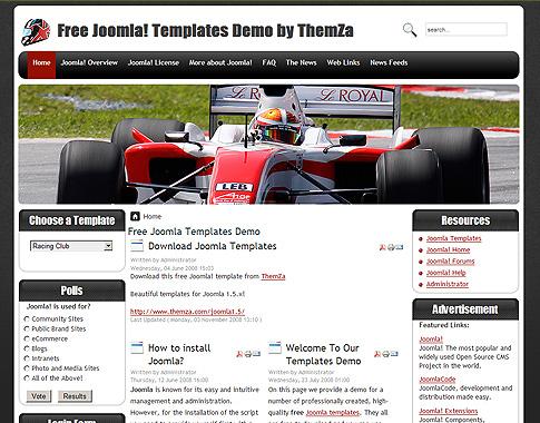 Racing Club - Free Joomla Template from ThemZa