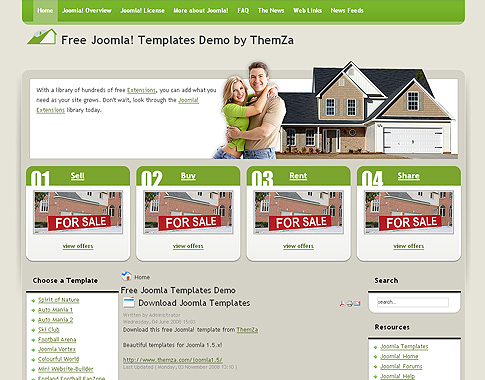 Free Joomla 1.5.x Templates: Real Estate by ThemZa