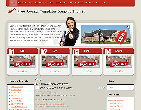 Free joomla 1 5 x templates real estate by themza for Jooma templates