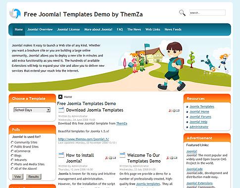 School Days - Free Joomla Template from ThemZa