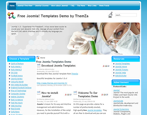 Science Lab - Free Joomla 1.5 Template by ThemZa