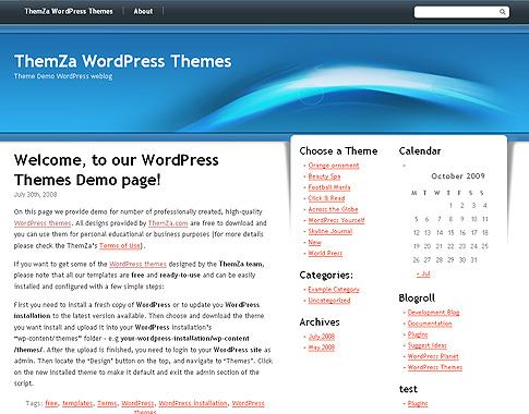 Sentimiento Azul\' – tema gratuito para WordPress diseñado por ThemZa