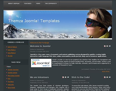 free joomla 1.5.x templates: ski clubthemza, Powerpoint templates