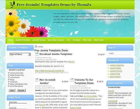 Spring flowers free joomla 15 template by themza mightylinksfo