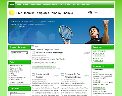 Tennis joomla template free theme from themza theme features fbccfo Images
