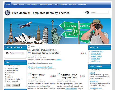 the tourist - free joomla template from themza, Powerpoint templates