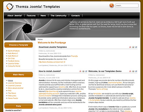 Free joomla 1 5 x templates vortex multi colour by themza for Joomla org templates