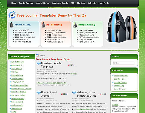 Free Joomla 1.5.x Templates: Web Hosting by ThemZa