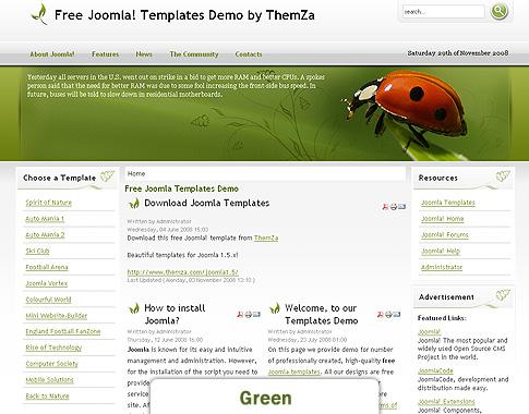 Wilde Natur - ein kostenloses thematisches Joomla 1.5-Design von ThemZa.