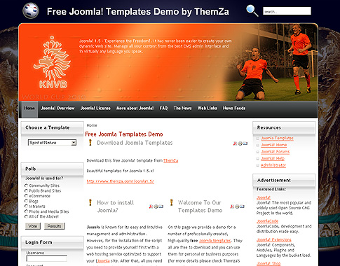 world cup nations - free joomla 1.5 templatethemza, Powerpoint templates