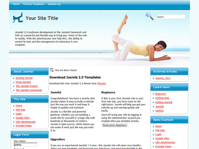 how to upload a template in joomla - joomla template yoga style ver 2 5 by themza