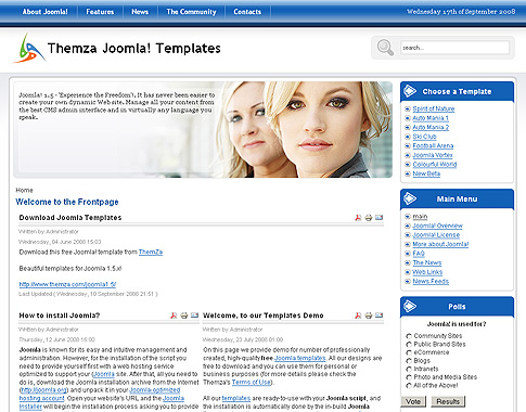 Free joomla 1 5 x templates mini website builder by themza for Joomla template builder software