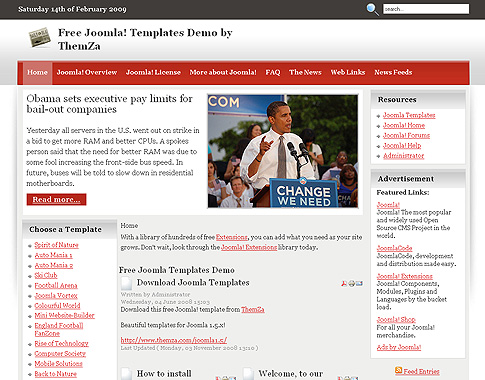 Reportero Tema De Dise O Gratuito Para Joomla 1 5 De Themza