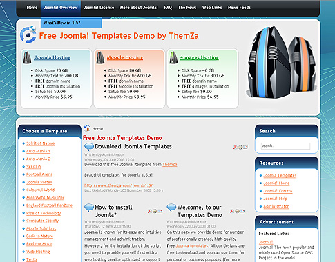 Free Joomla Web Hosting template for both new and established web