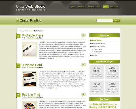 Ultra web studio wp template for Create blog page template wordpress